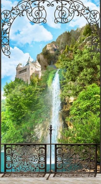 вид на водопад с веранды