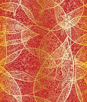 золотые листья на красном фоне