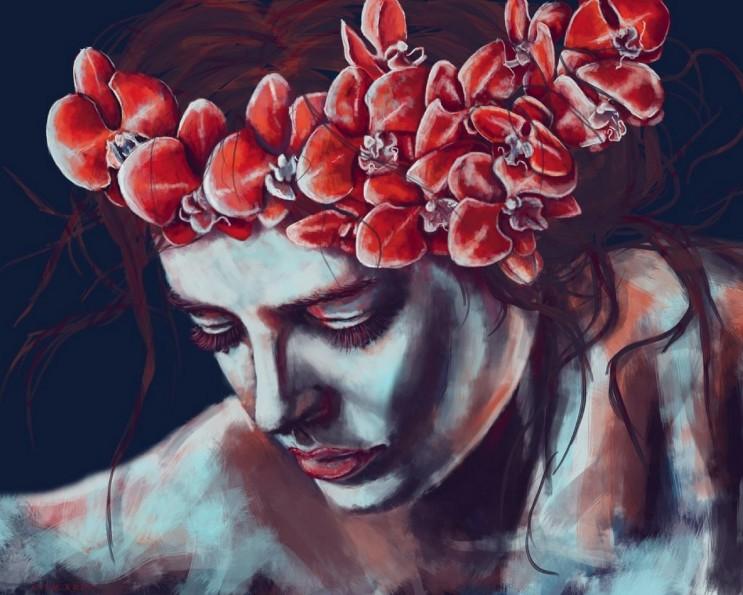 девушка с цветочным ободком