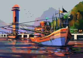 лодка нарисованная