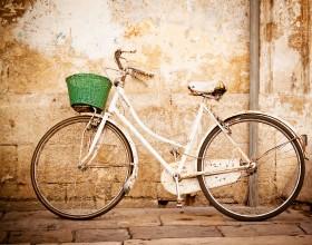 велосипед, зеленая корзина