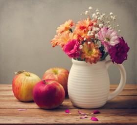 яблоки цветы